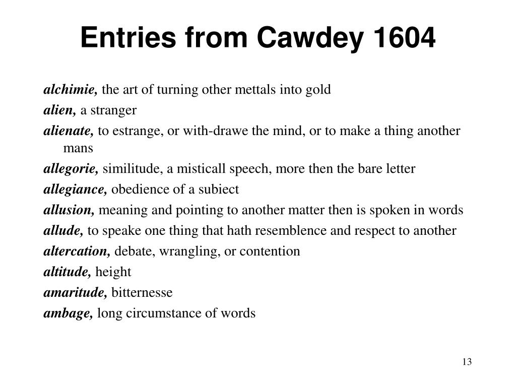 Entries from Cawdey 1604