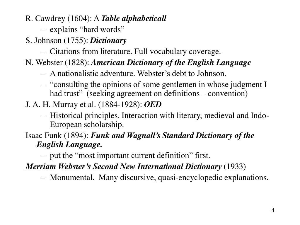 R. Cawdrey (1604): A