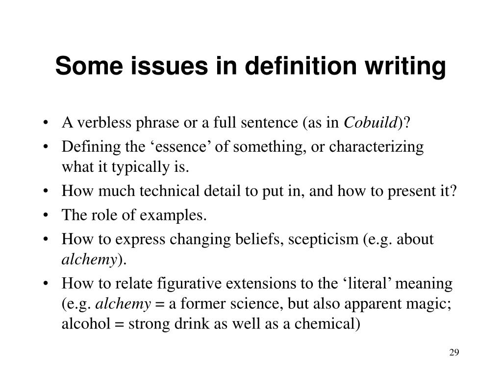 Some issues in definition writing
