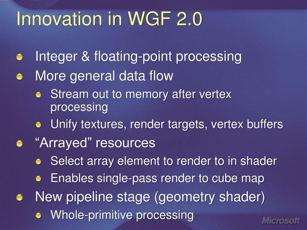Innovation in WGF 2.0