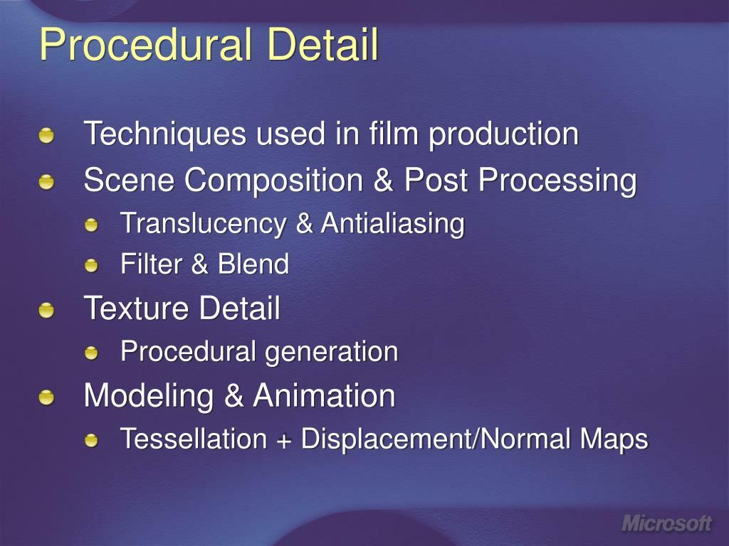Procedural Detail