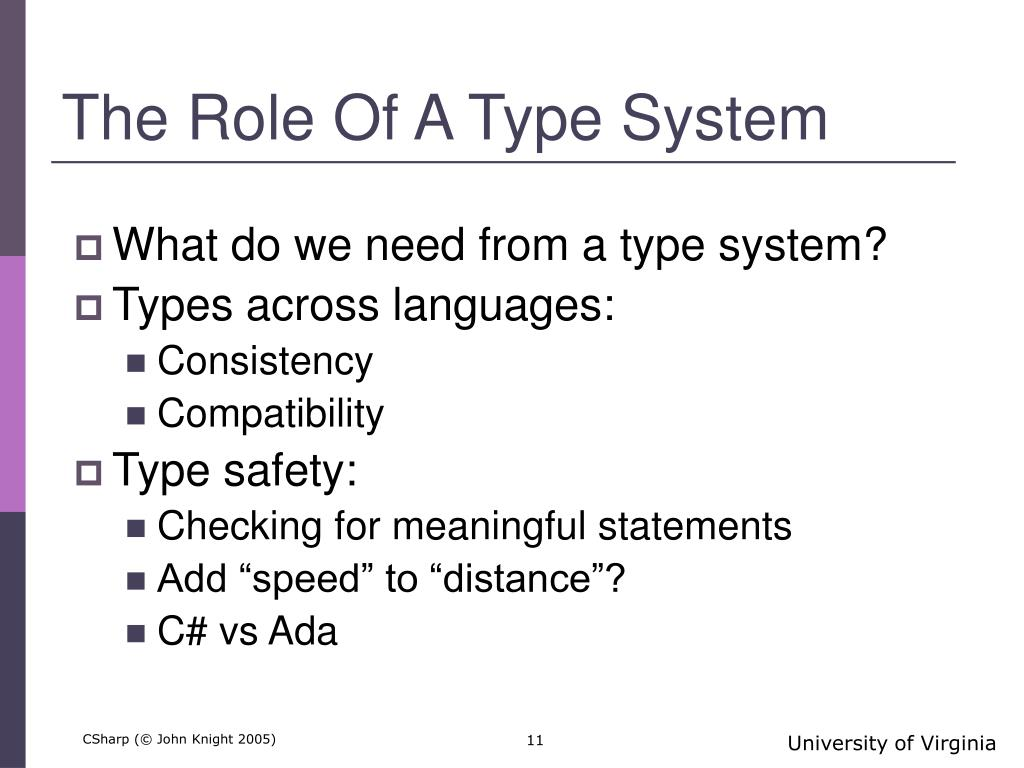 The Role Of A Type System