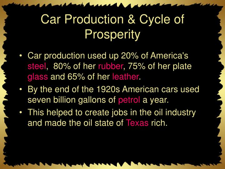 Car Production & Cycle of Prosperity