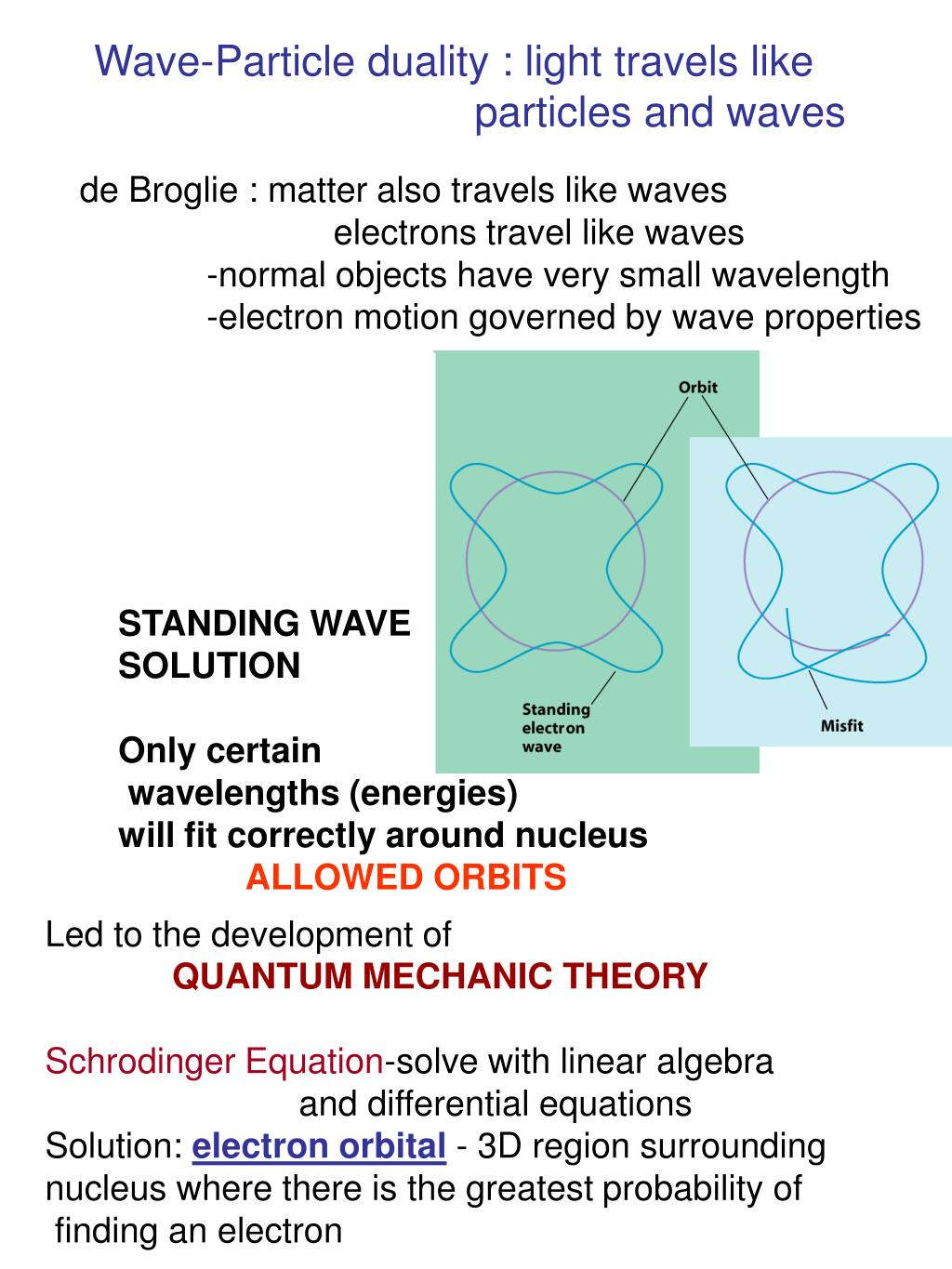 Wave-Particle duality : light travels like