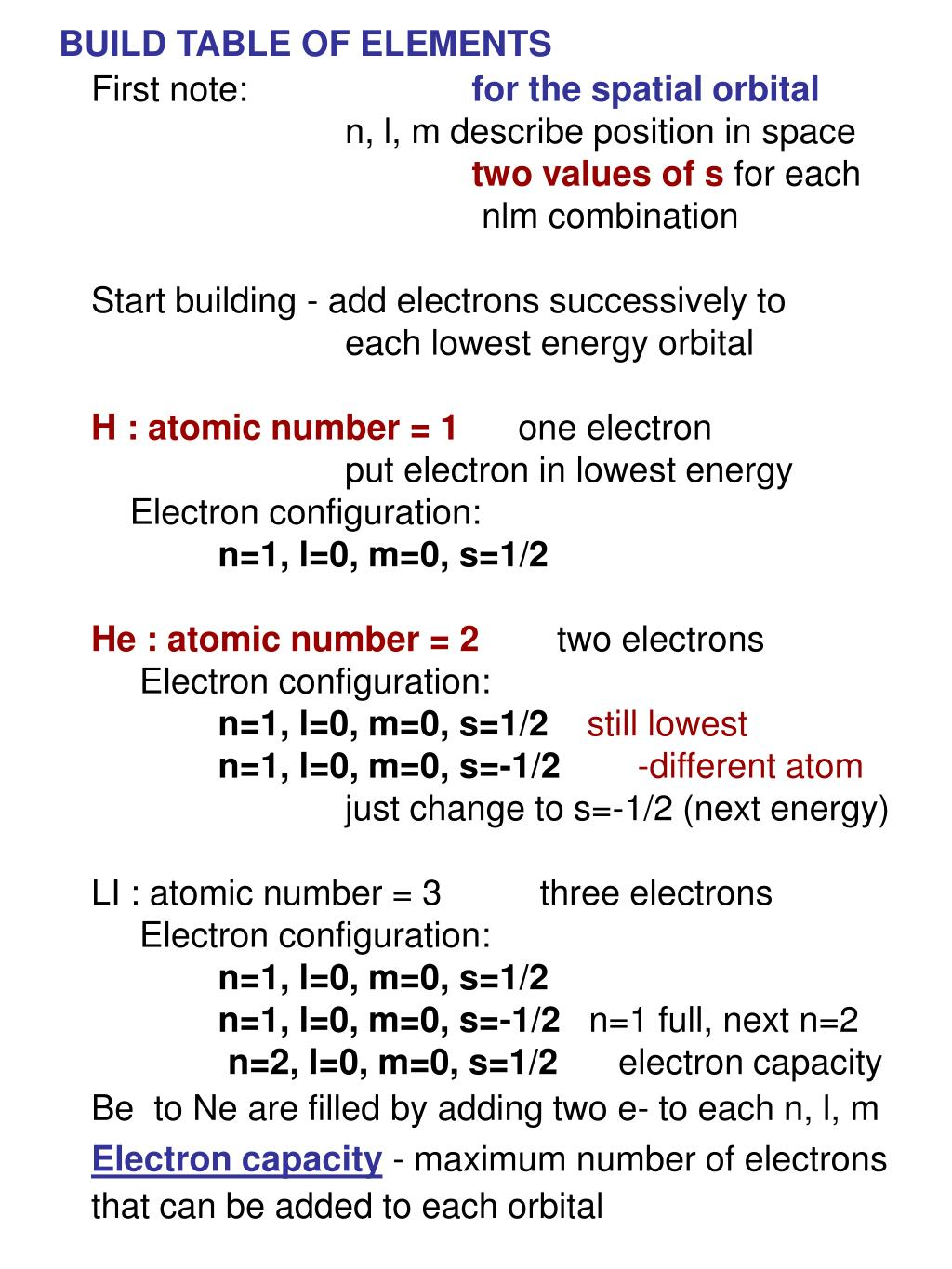 BUILD TABLE OF ELEMENTS