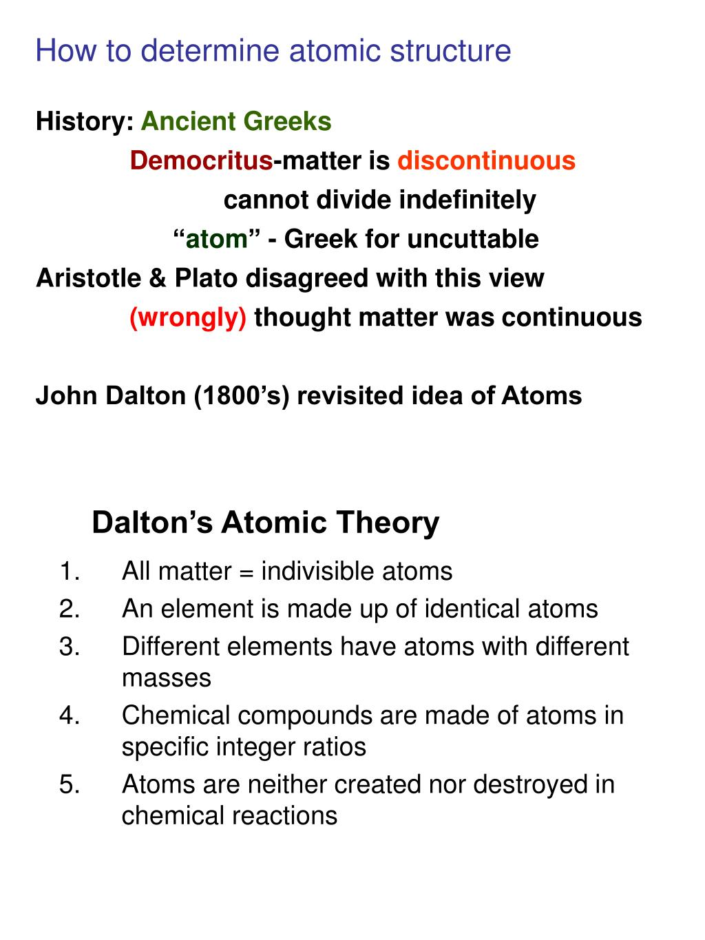 How to determine atomic structure