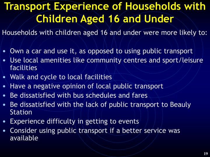 Transport Experience of Households with