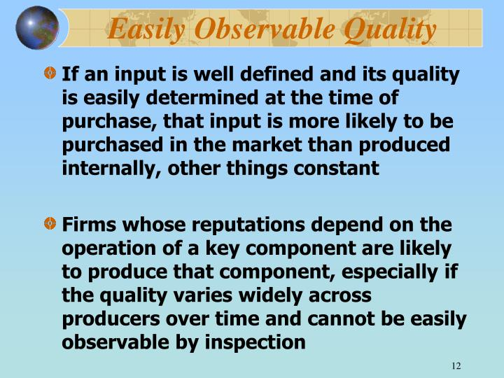 Easily Observable Quality