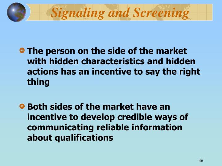 Signaling and Screening