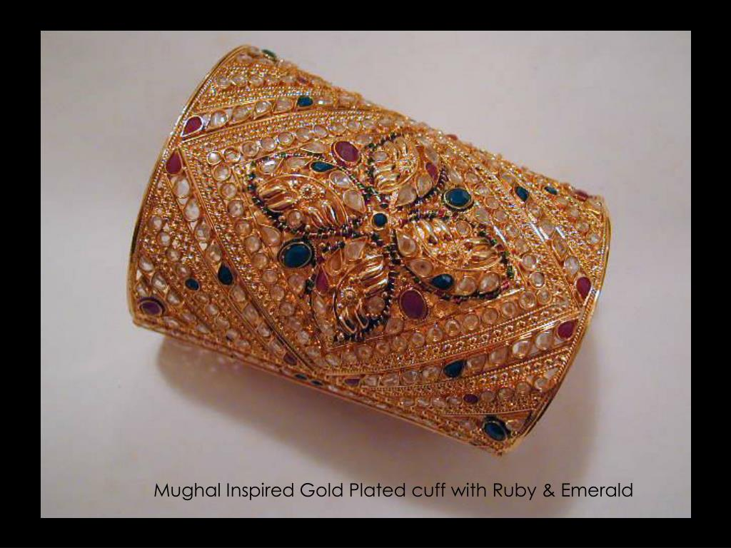 Mughal Inspired Gold Plated cuff with Ruby & Emerald
