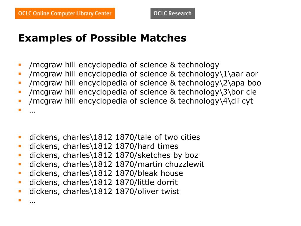 Examples of Possible Matches