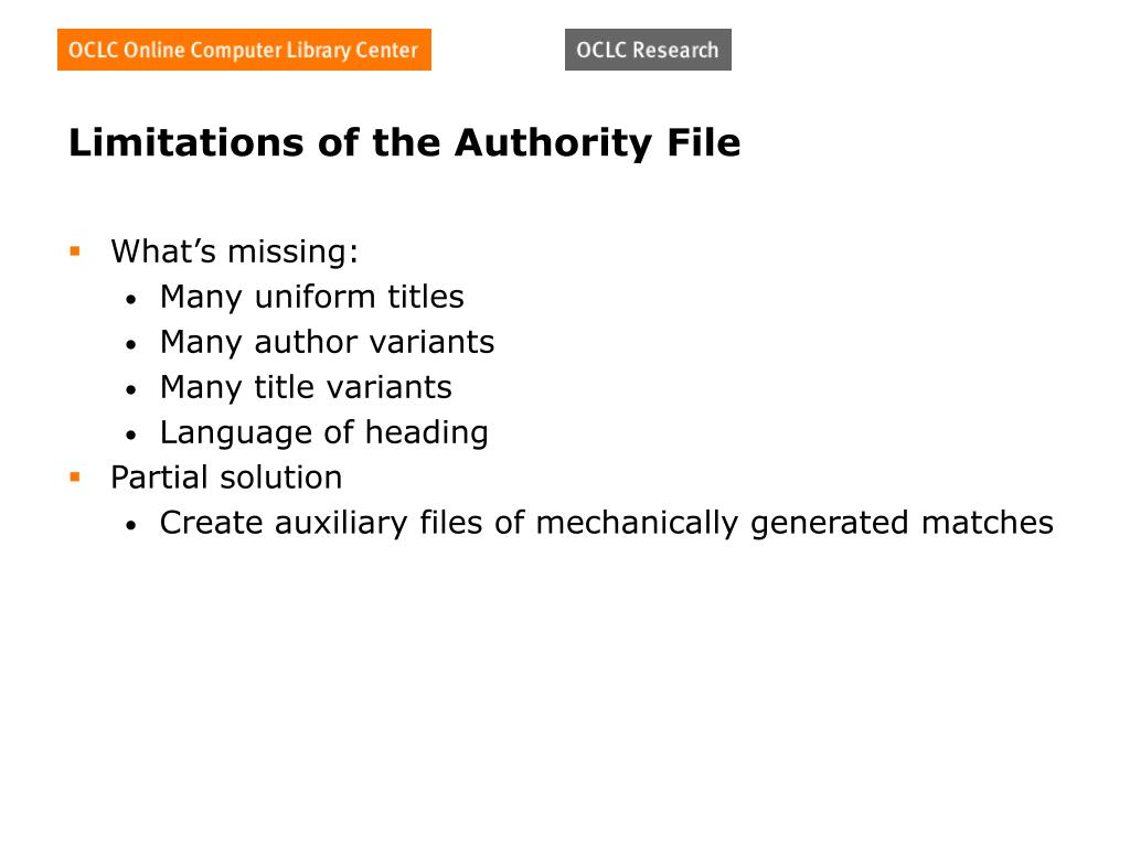 Limitations of the Authority File