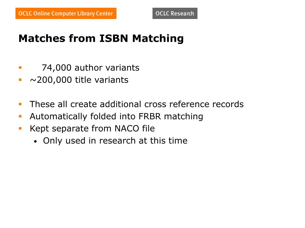 Matches from ISBN Matching