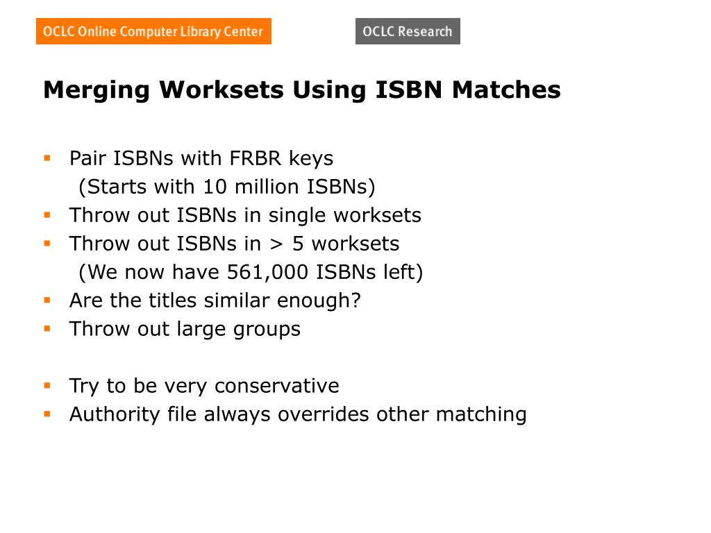 Merging Worksets Using ISBN Matches