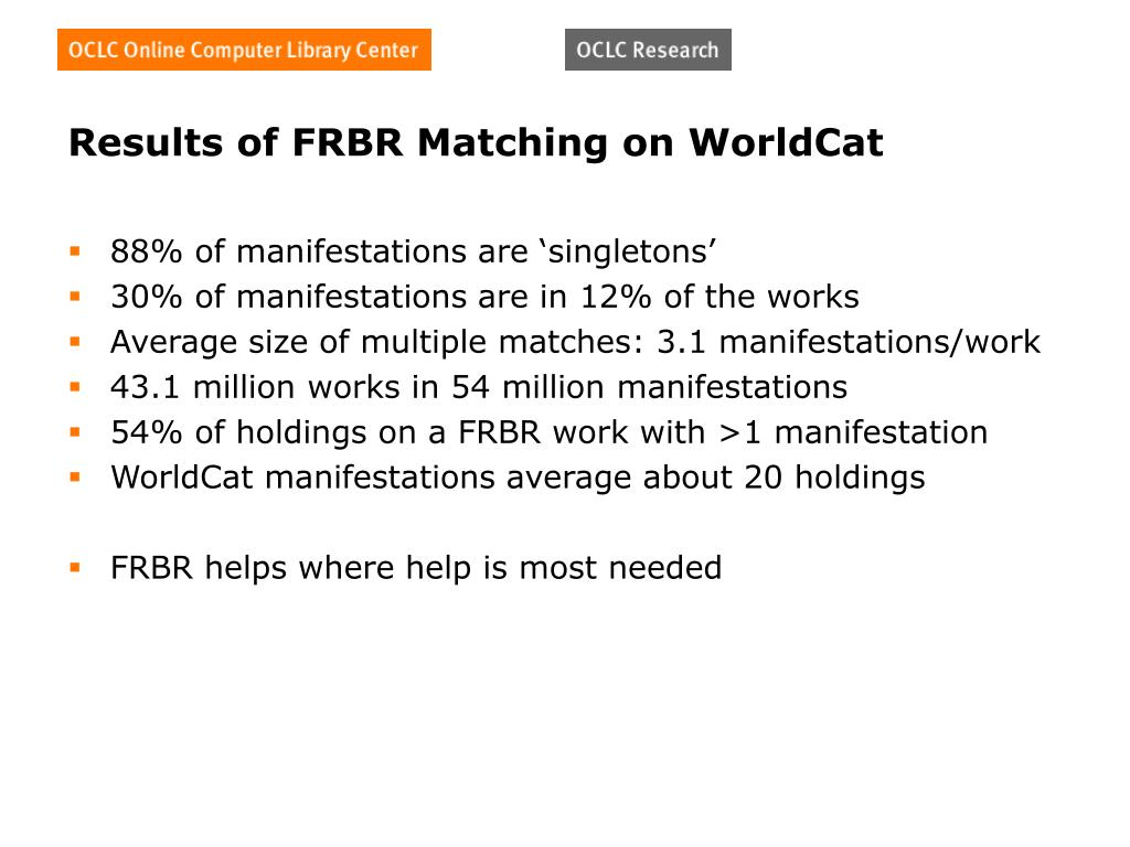 Results of FRBR Matching on WorldCat