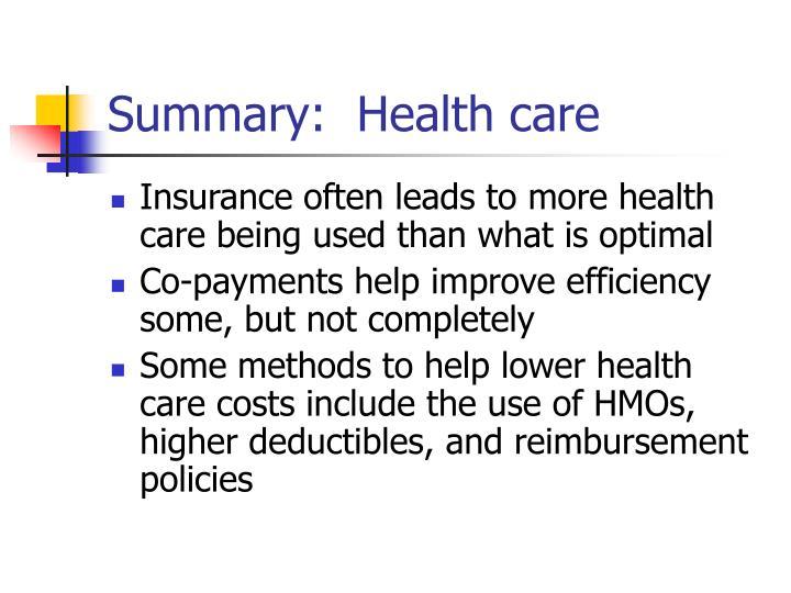 Summary:  Health care