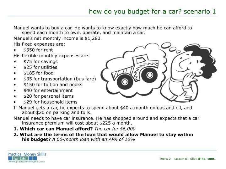 how do you budget for a car? scenario 1