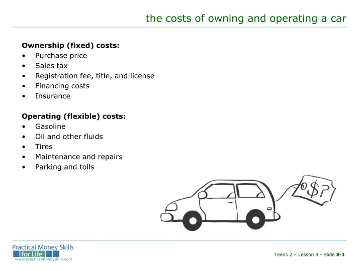 The costs of owning and operating a car