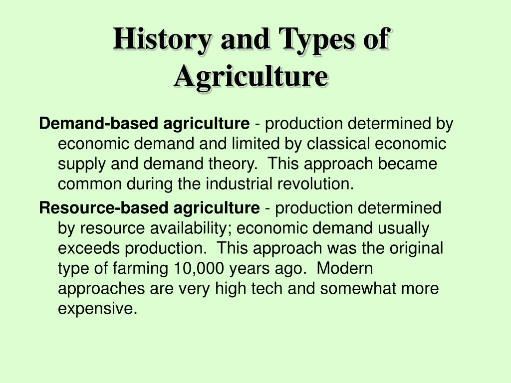 History and Types of Agriculture
