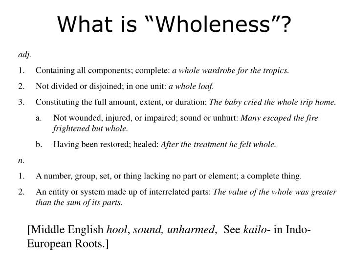 "What is ""Wholeness""?"