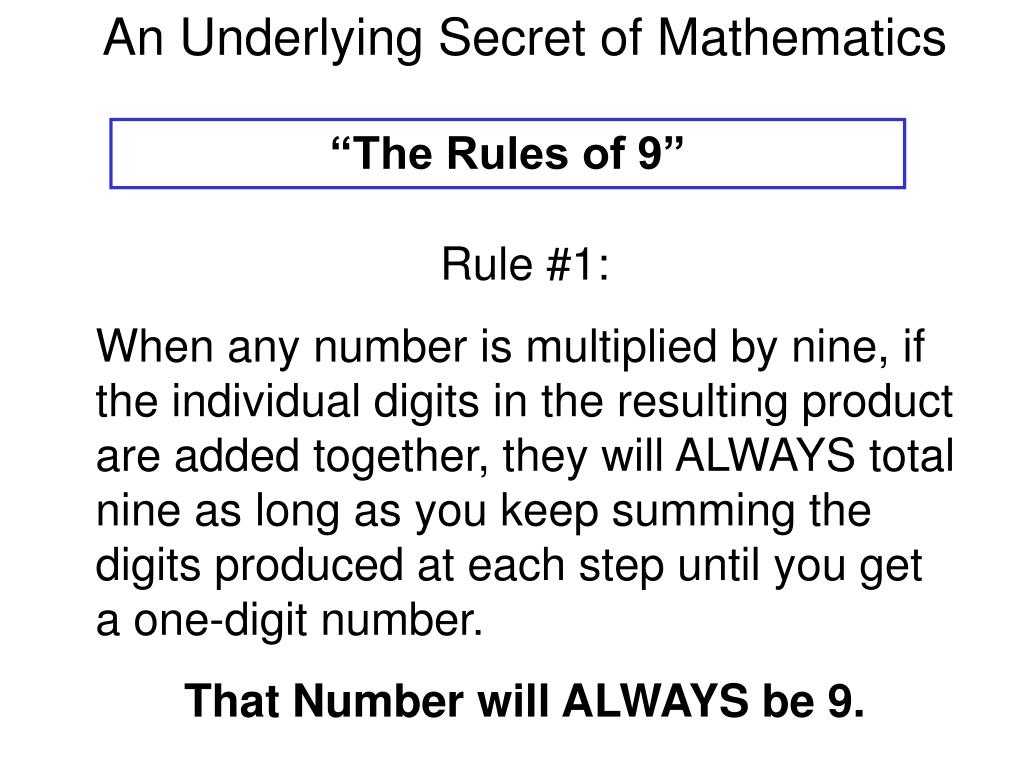 An Underlying Secret of Mathematics