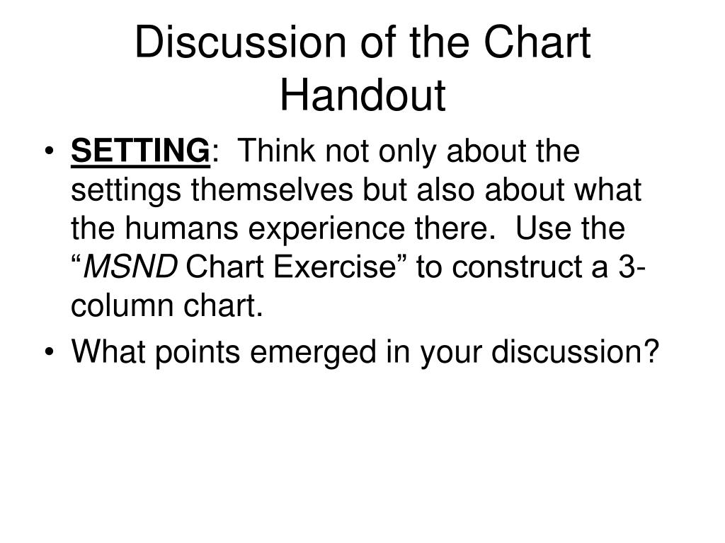 Discussion of the Chart Handout