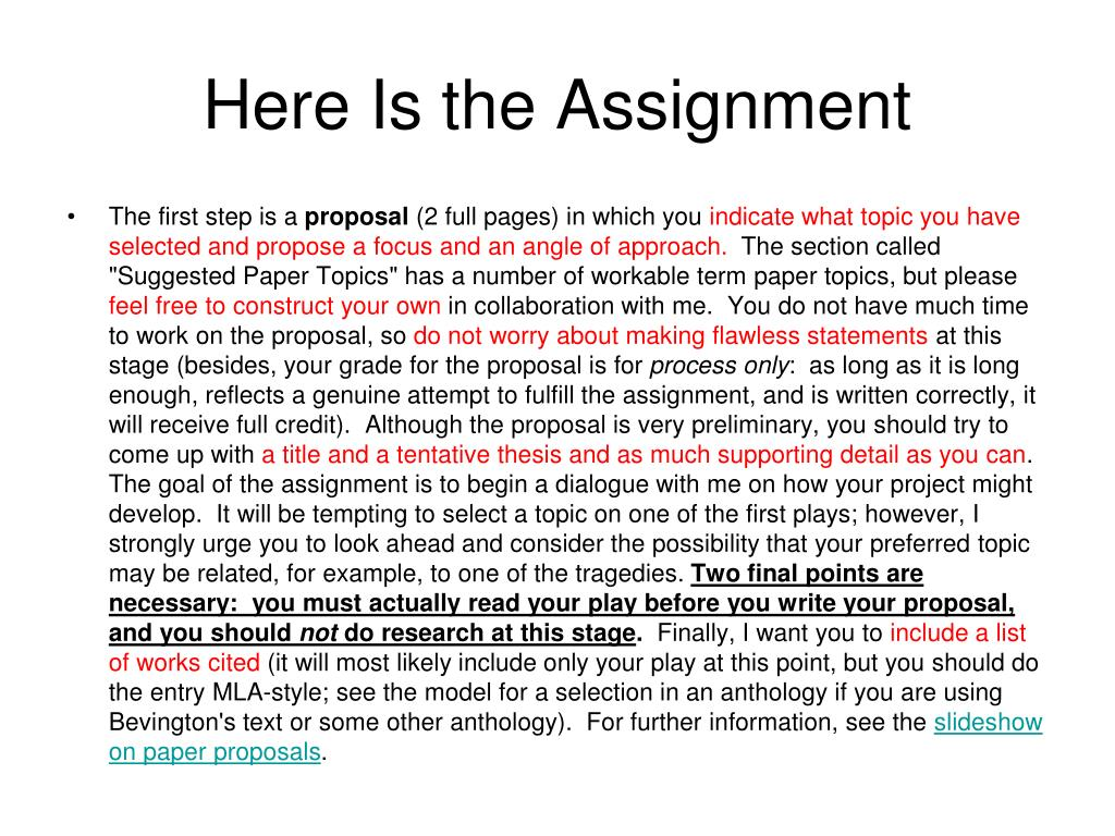 Here Is the Assignment