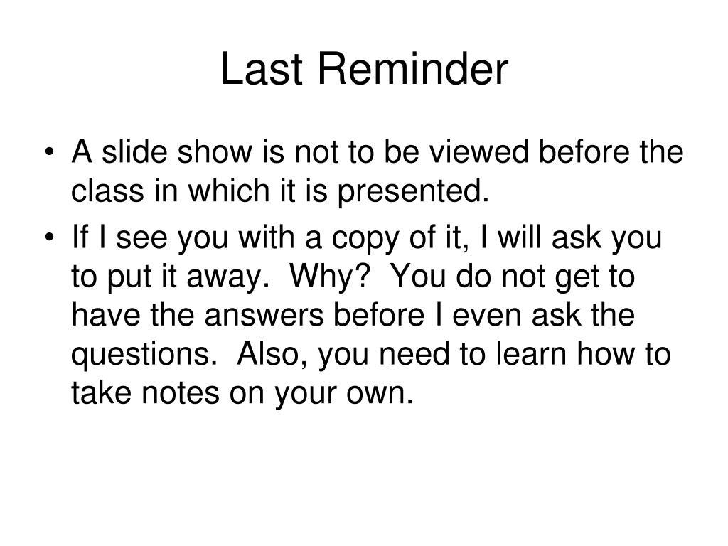 Last Reminder