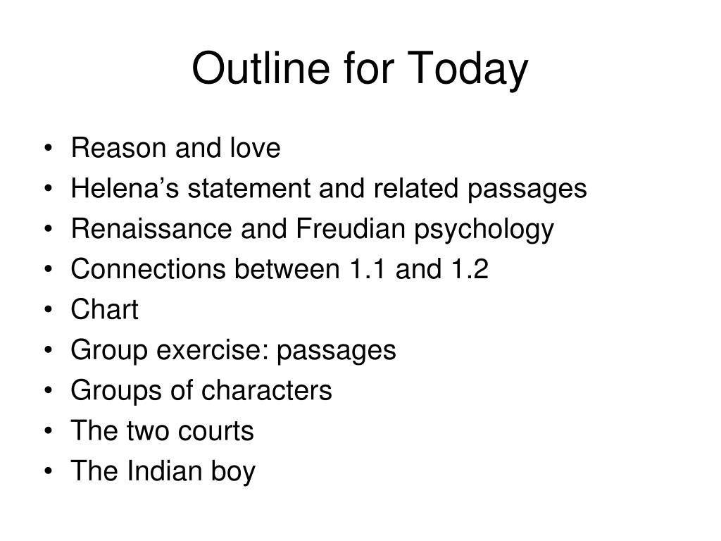 Outline for Today