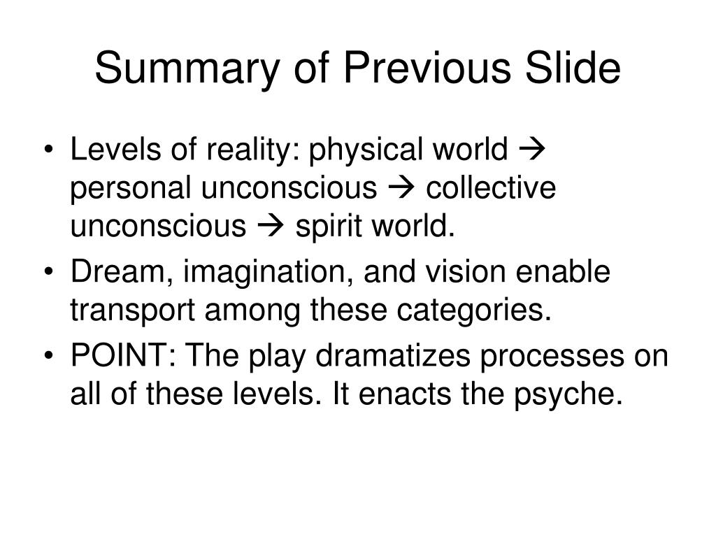 Summary of Previous Slide