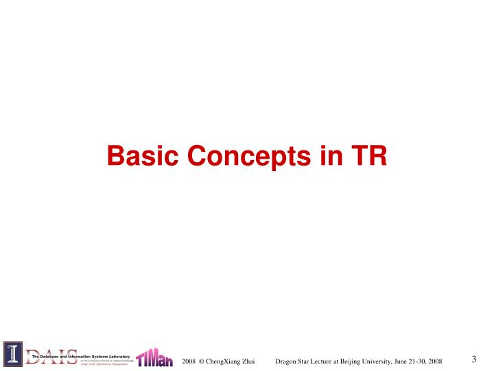 Basic concepts in tr