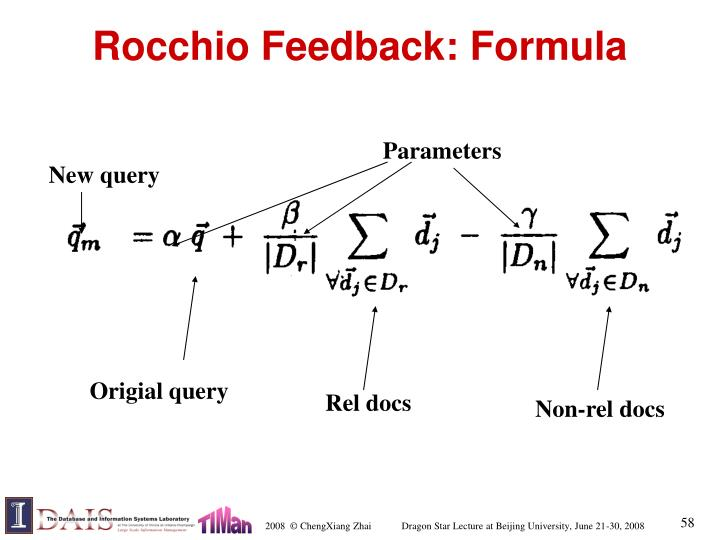 Rocchio Feedback: Formula
