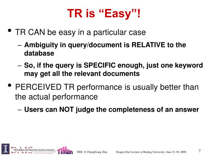 "TR is ""Easy""!"