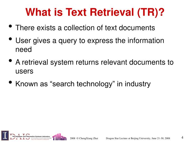 What is Text Retrieval (TR)?