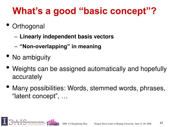 "What's a good ""basic concept""?"