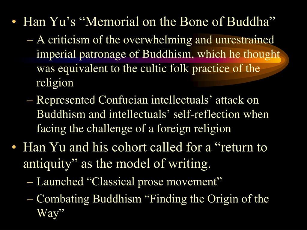 "Han Yu's ""Memorial on the Bone of Buddha"""
