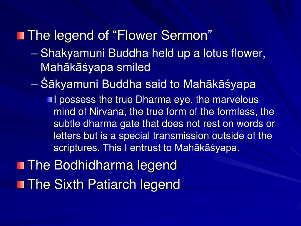"The legend of ""Flower Sermon"""