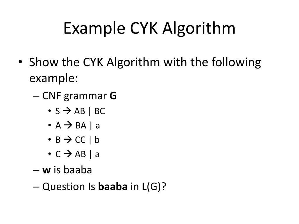 Example CYK Algorithm