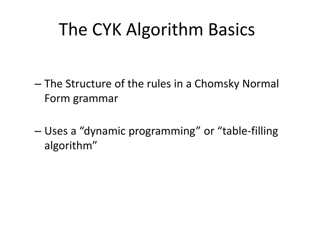 The CYK Algorithm Basics