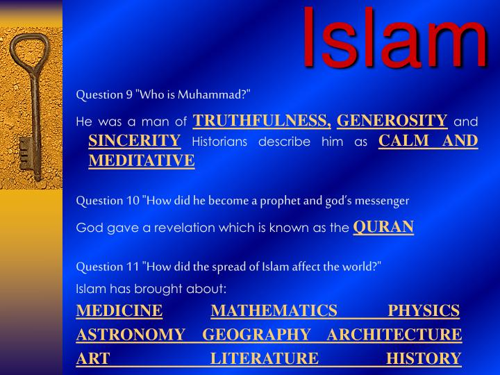 "Question 9 ""Who is Muhammad?"""