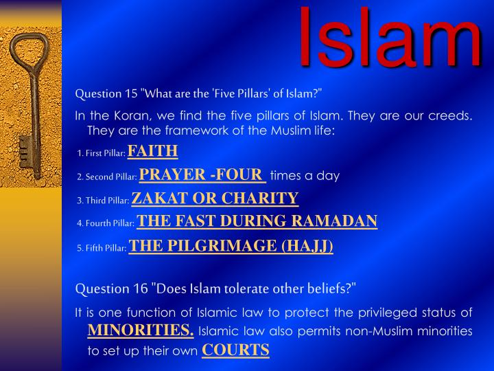 "Question 15 ""What are the 'Five Pillars' of Islam?"""