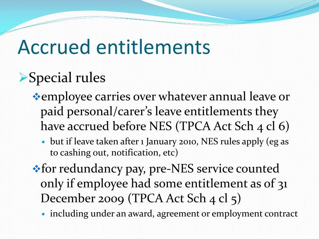 Accrued entitlements