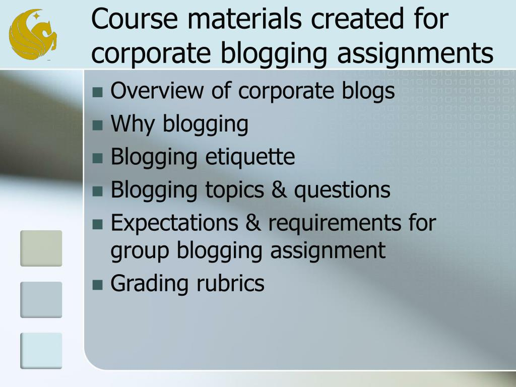 Course materials created for corporate blogging assignments