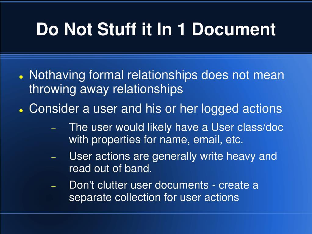 Do Not Stuff it In 1 Document