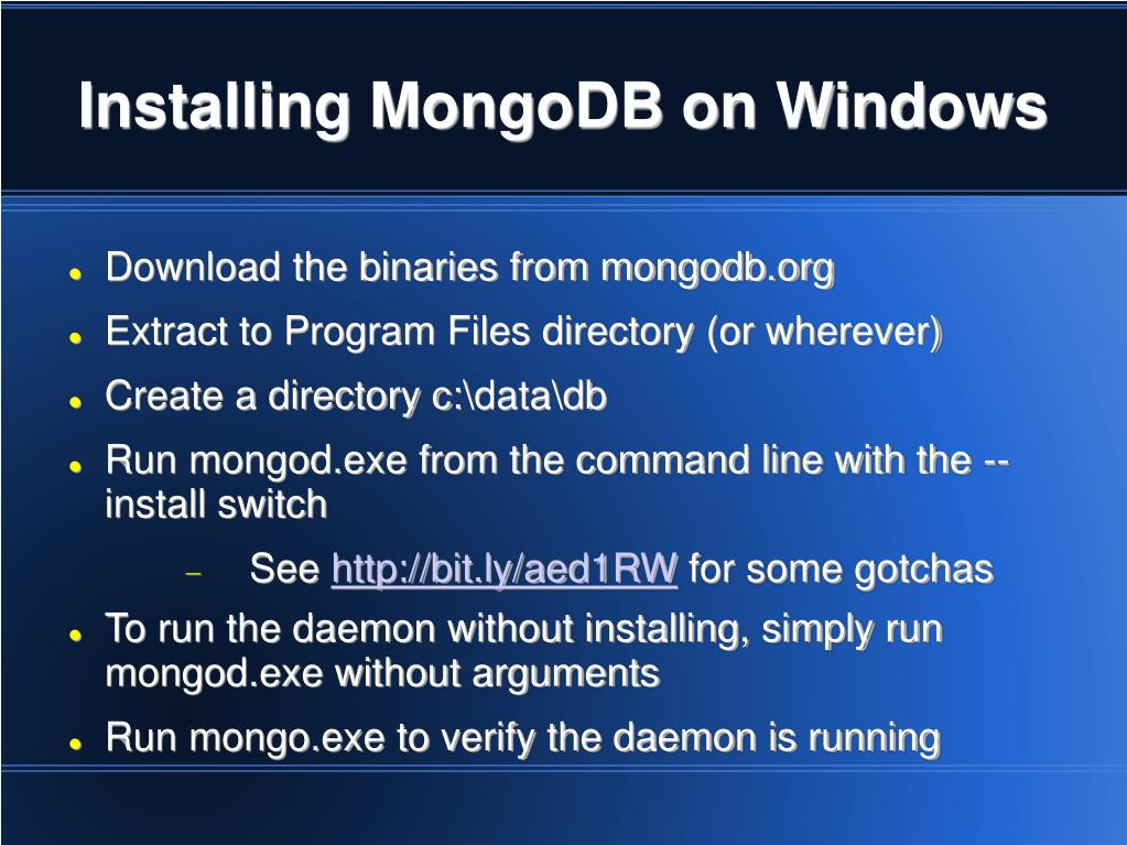Installing MongoDB on Windows