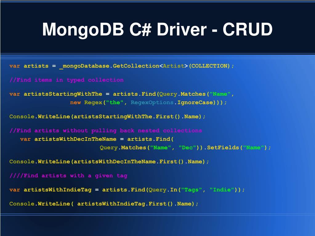 MongoDB C# Driver - CRUD