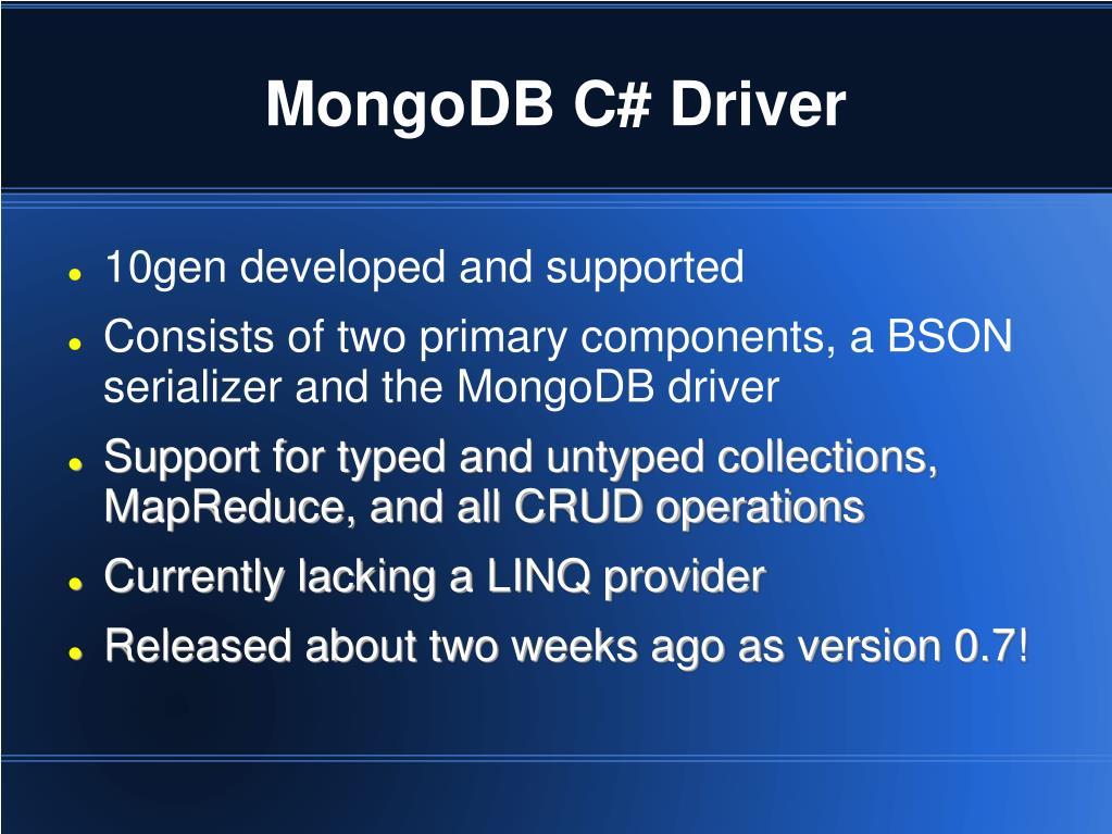 MongoDB C# Driver