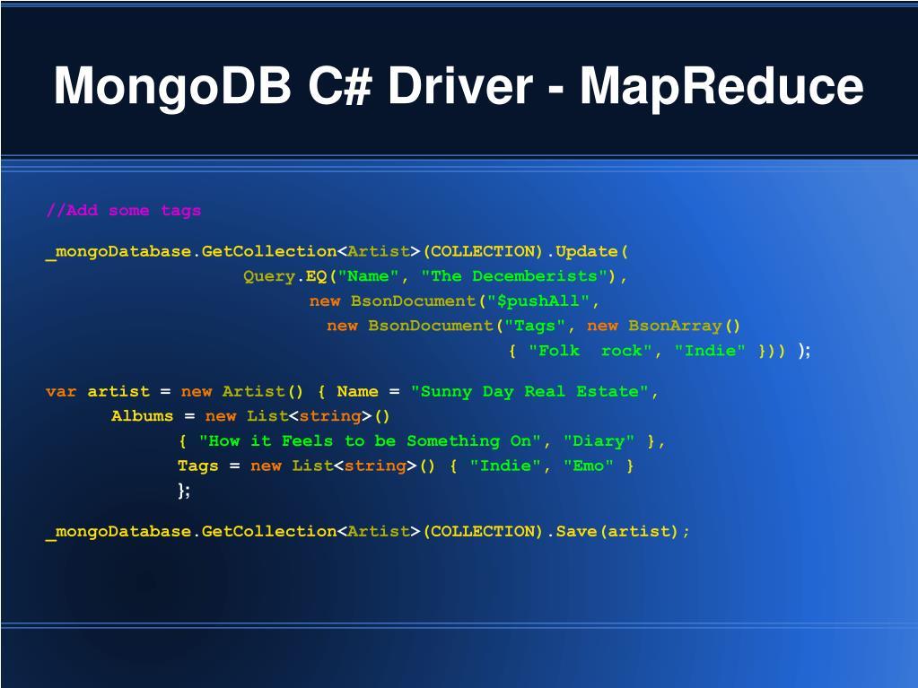 MongoDB C# Driver - MapReduce