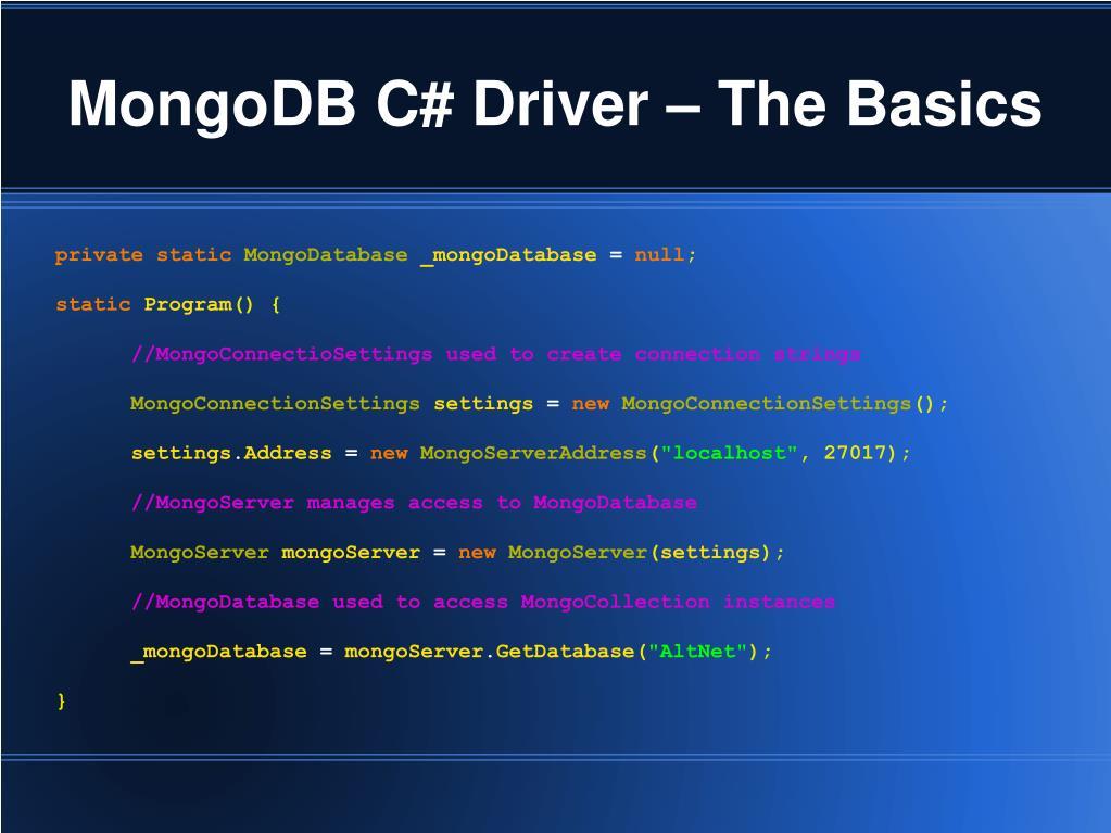 MongoDB C# Driver – The Basics