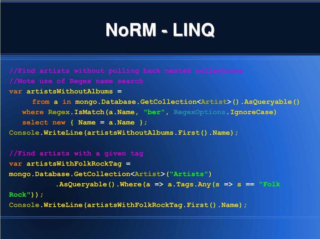 NoRM - LINQ